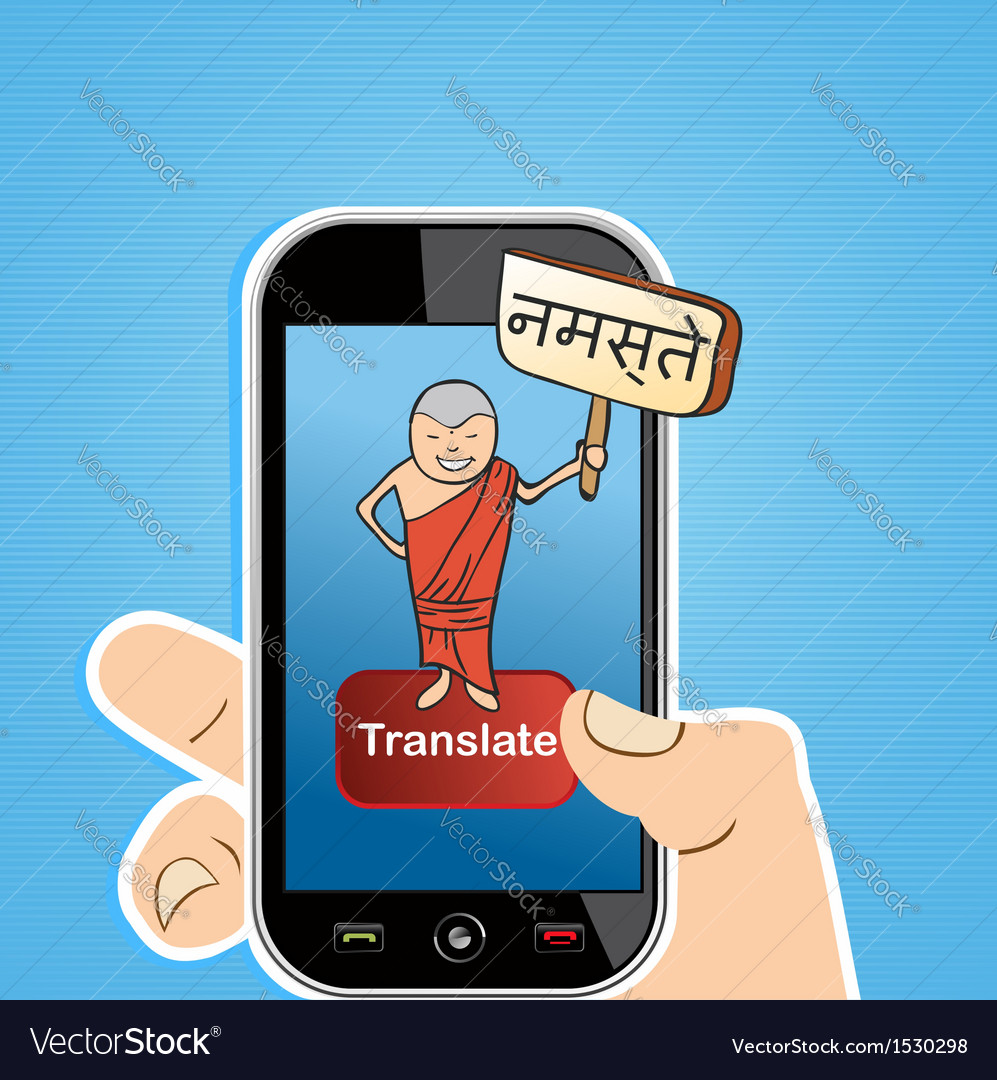Translation human hand holds a smart phone vector