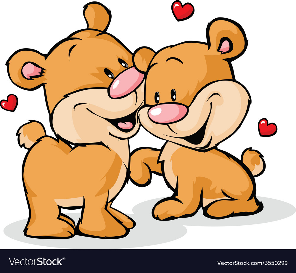 Bear in love isolated on white background vector