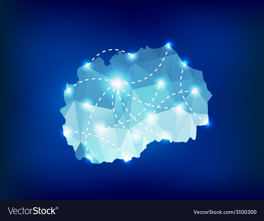 Republic of macedonia country map polygonal with vector