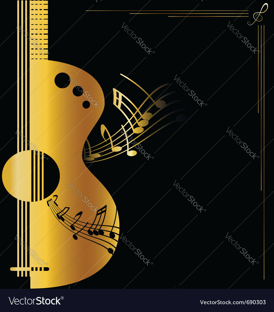 Background golden guitar vector