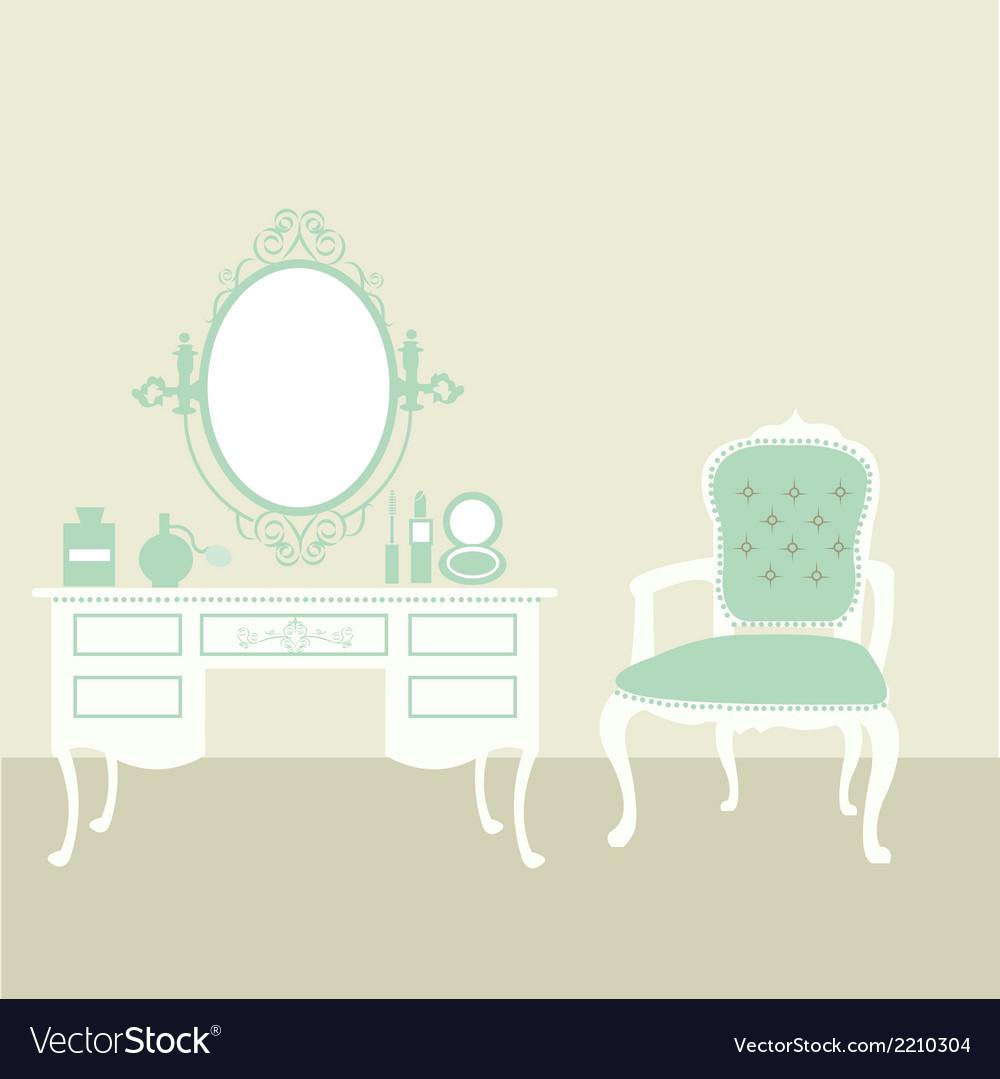 Makeup room vintage vector
