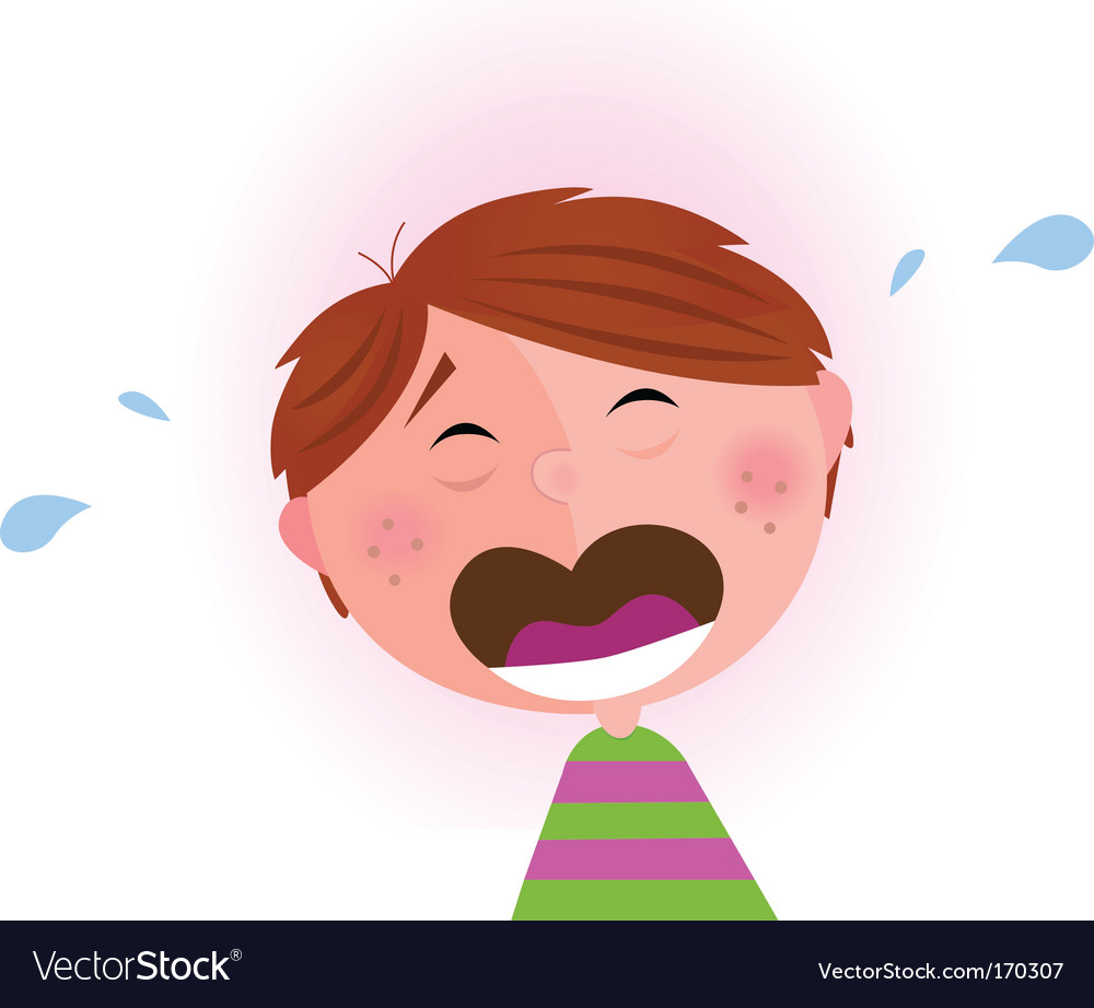 Small crying boy vector
