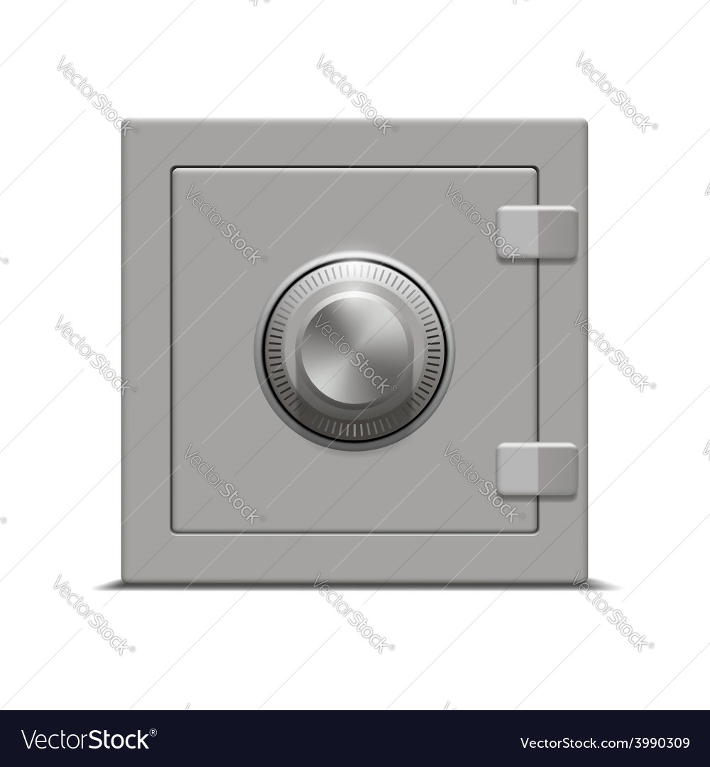 Metal safe on white background vector