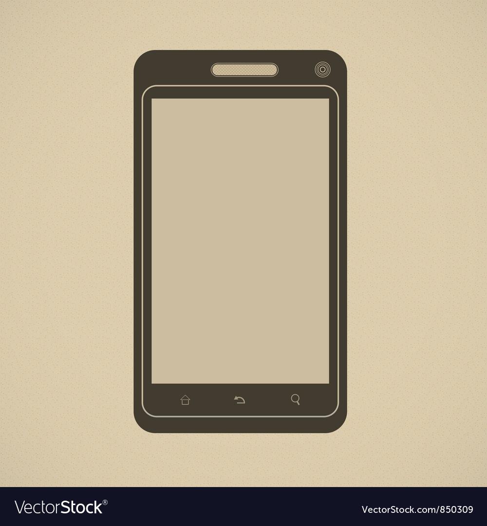 Silhouette of modern smartphone in retro style vector