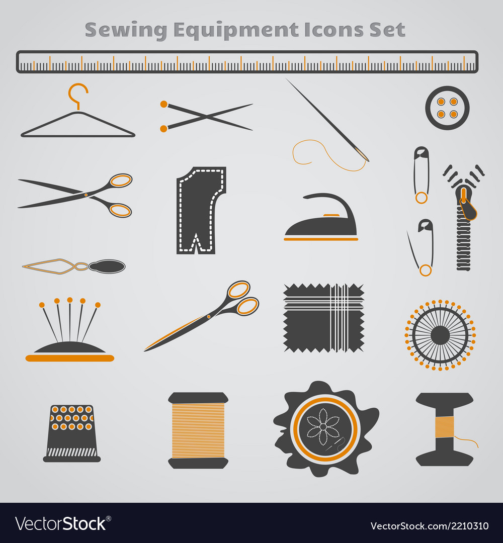Sewing icons copy vector
