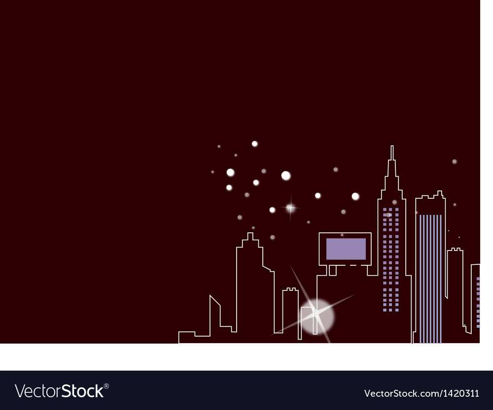 Abstract city night outline vector