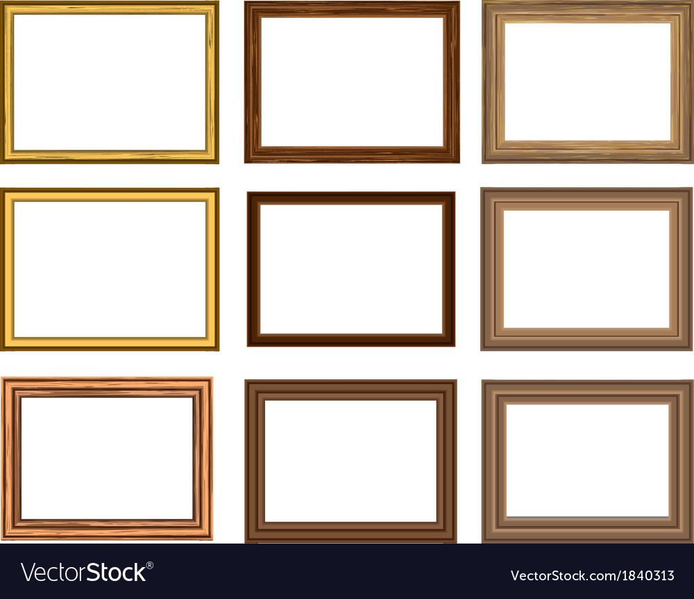 Wood frame set vector