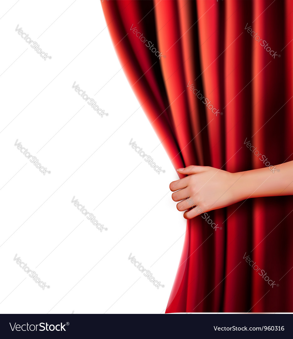 Background with red velvet curtain vector