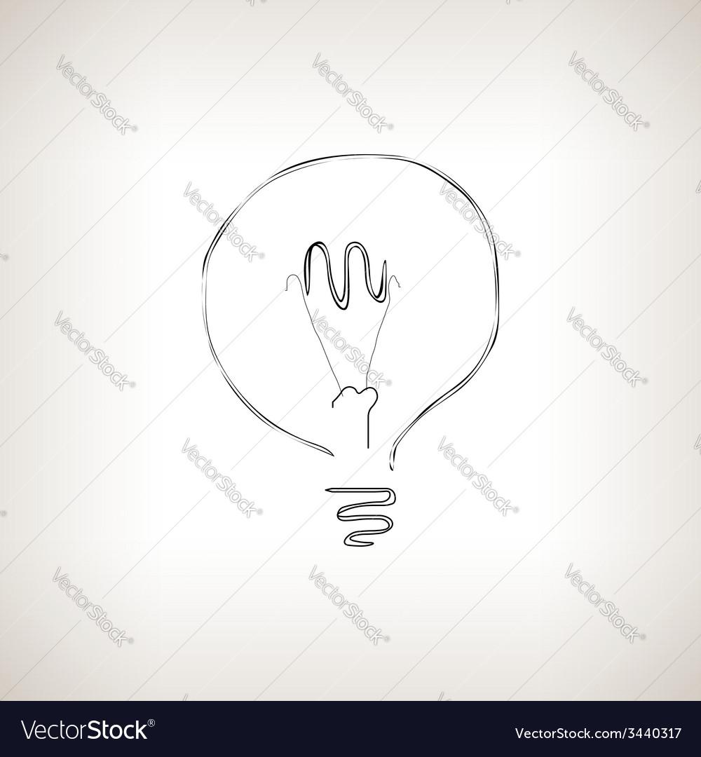 Silhouette lightbulb on a light background vector