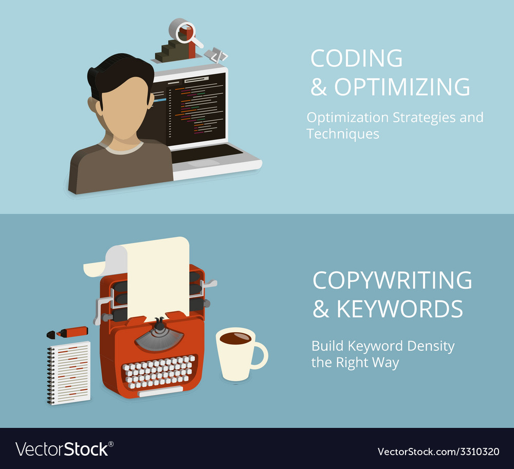 Coding and copywriting vector