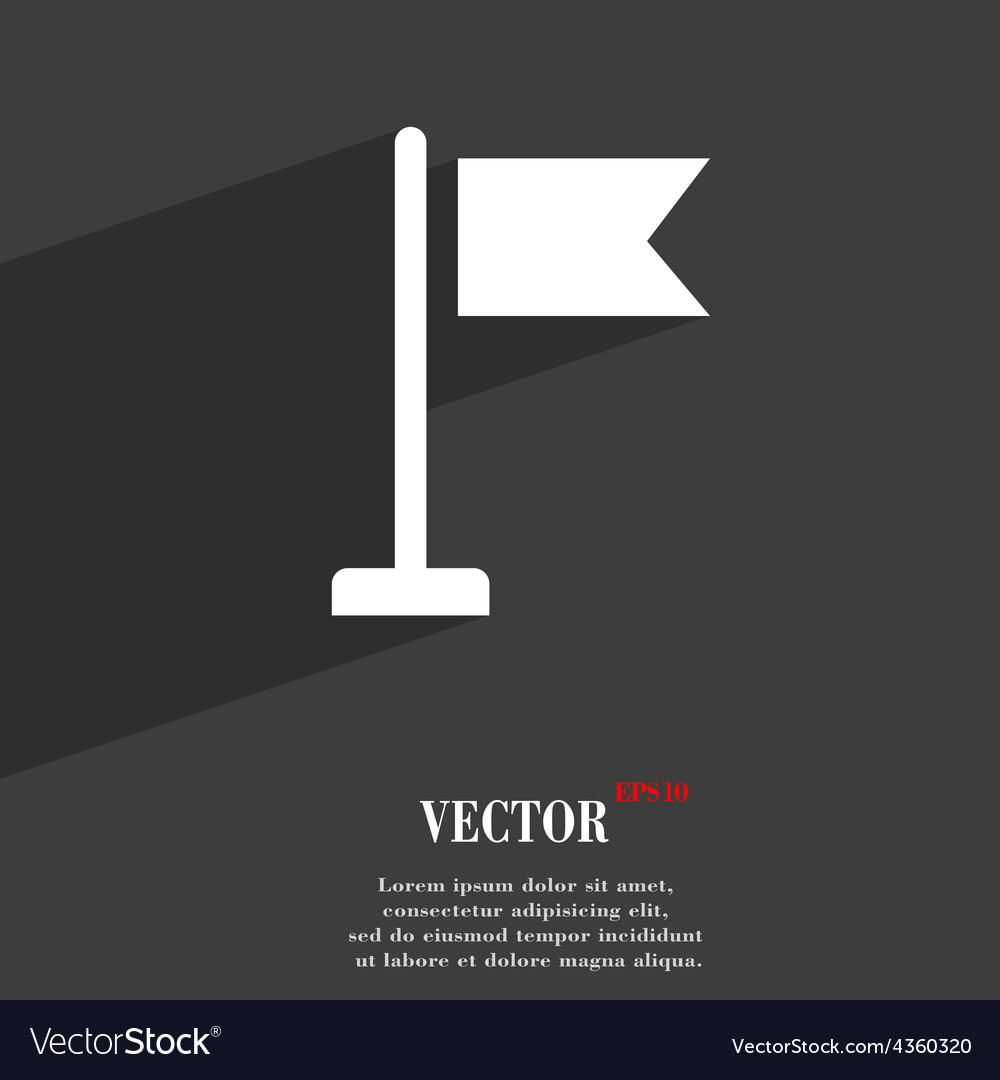 Flag icon symbol flat modern web design with long vector