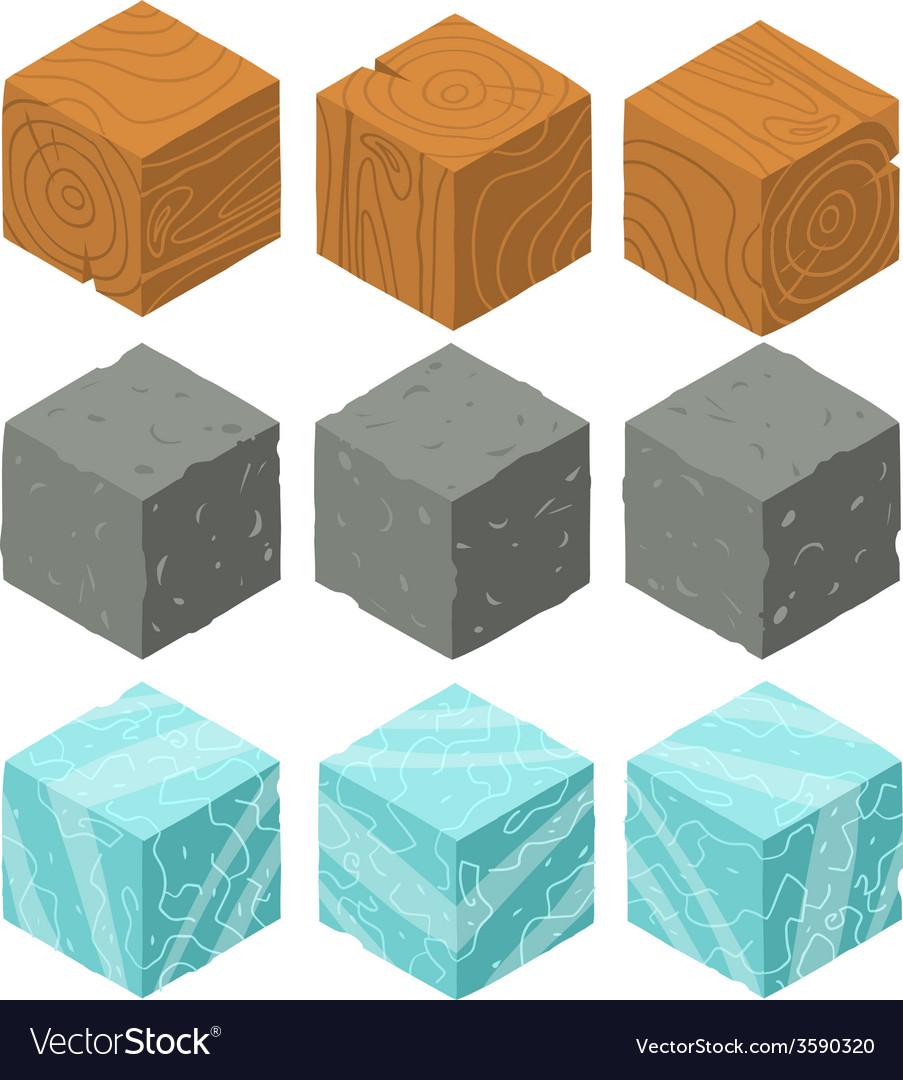 Isometric game brick cubes set vector