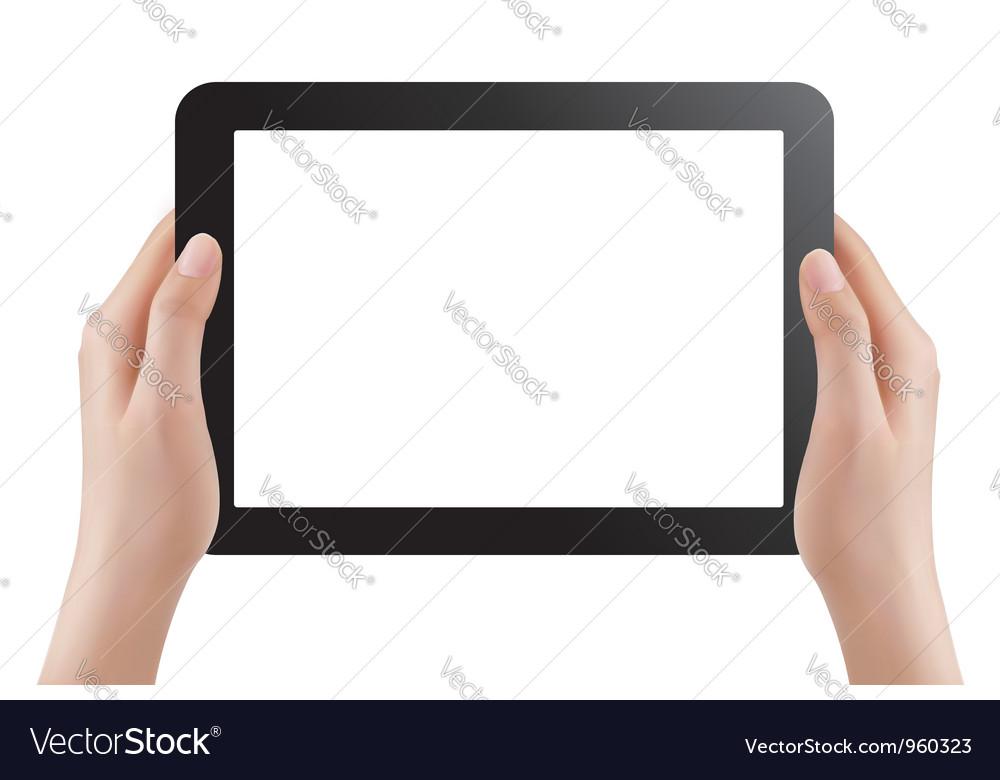 Hands holding digital tablet pc vector