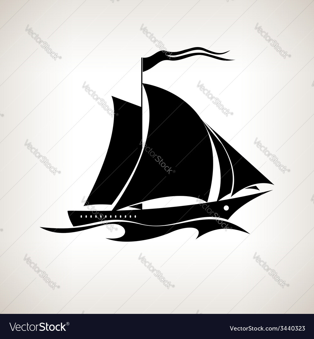 Silhouette sailing vessel on a light background vector