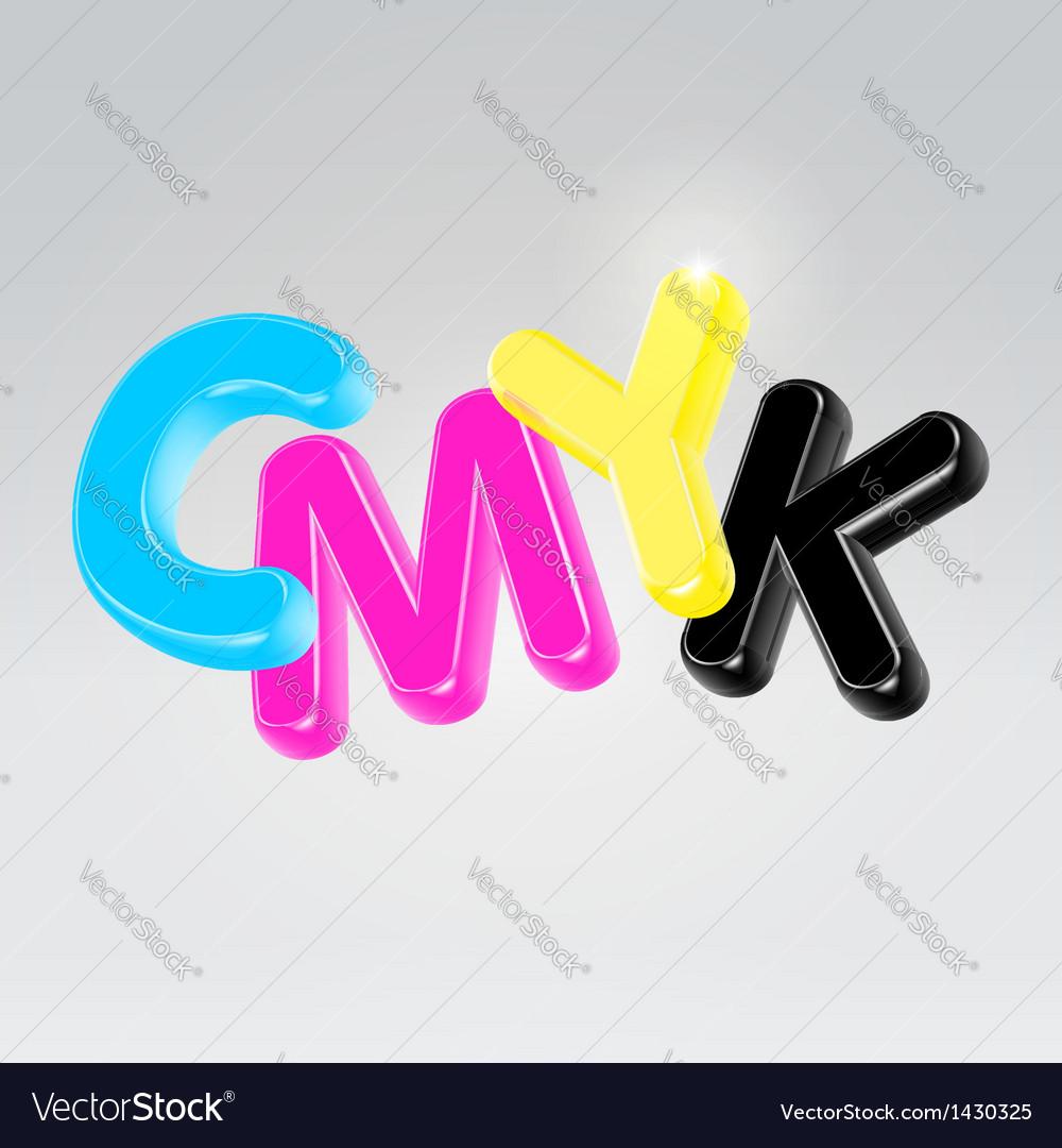 Cmyk plastic glossy letters vector
