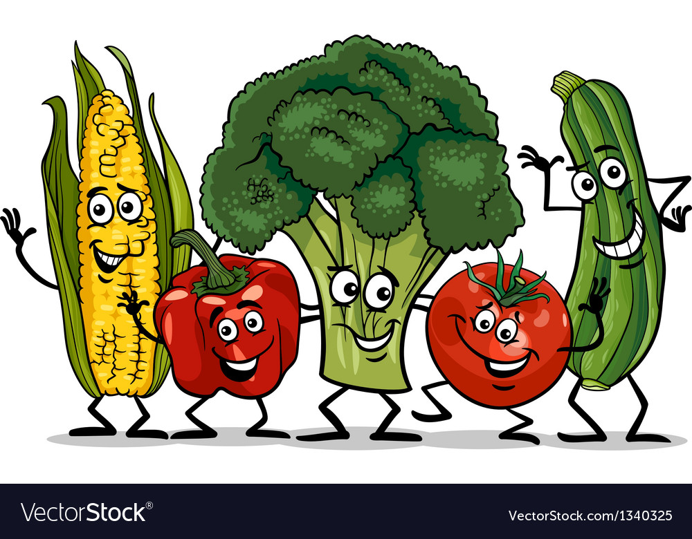 Comic vegetables group cartoon vector