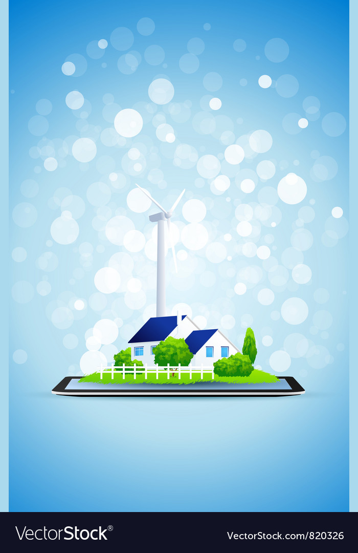 Country house and power station on tablet computer vector