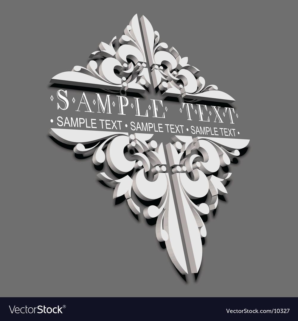3d decorative vintage ornate banner vector