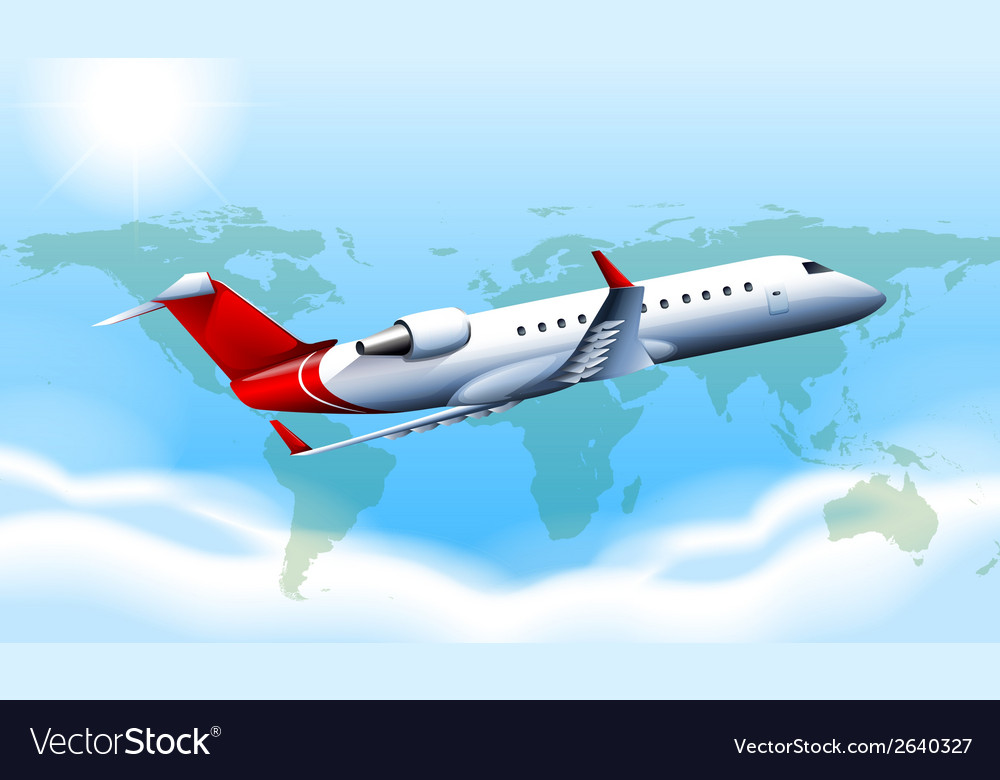 A large plane in the sky vector