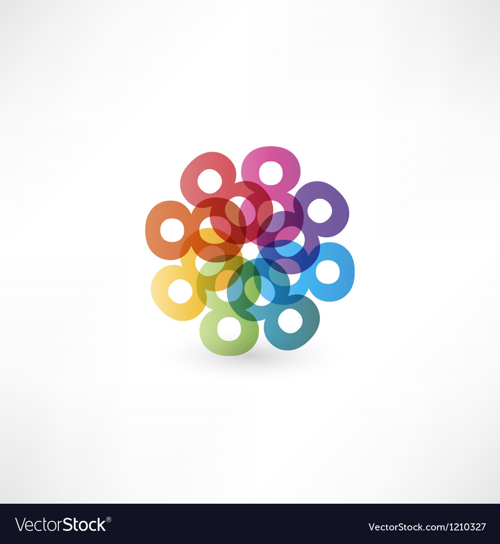 Full color abstract figure of the numbers 8 vector