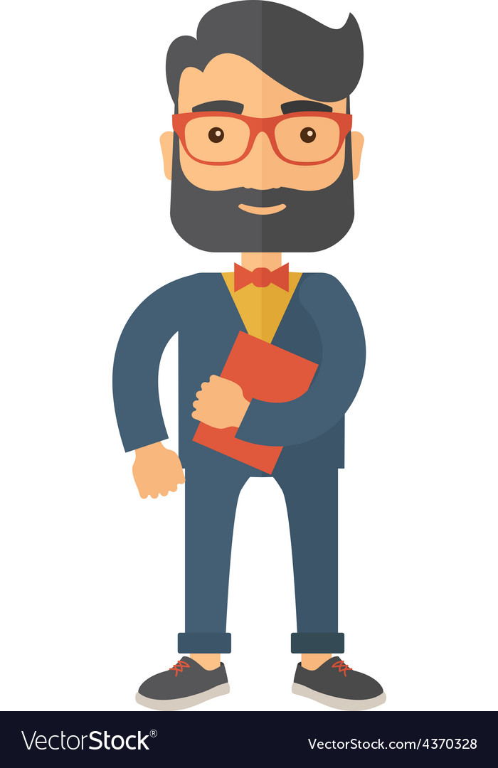Man holding book under his arm vector