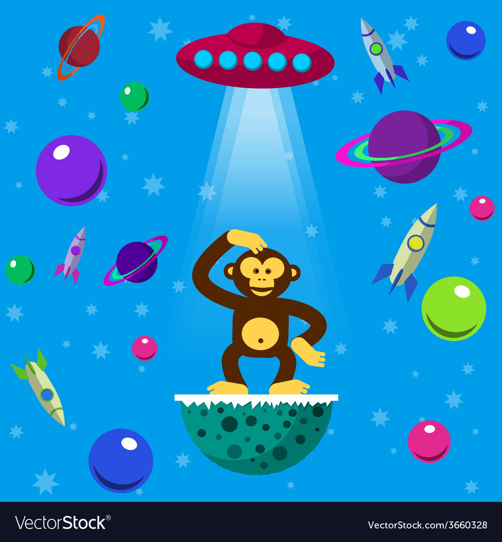 Seamless pattern with space monkey vector