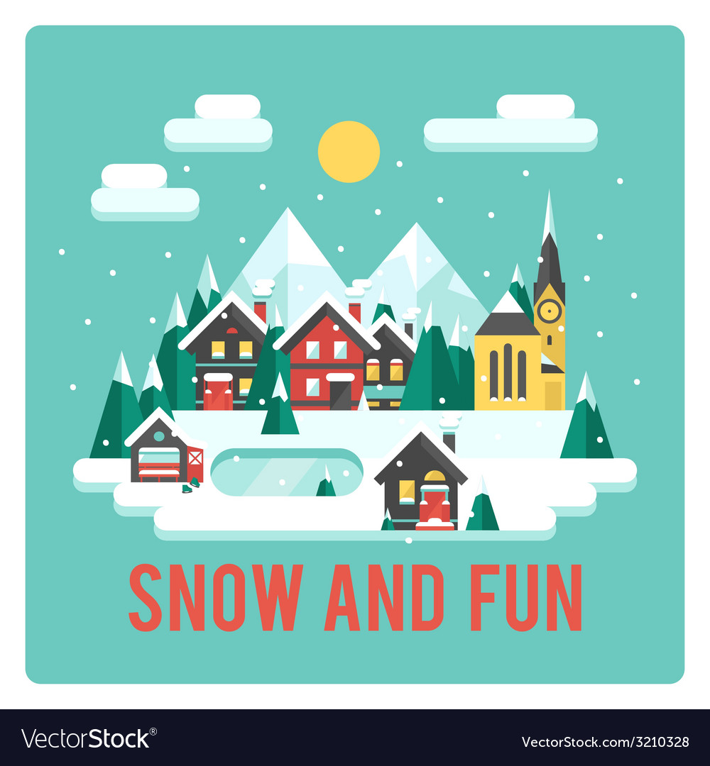 Town in mountains winter time snow and fun vector