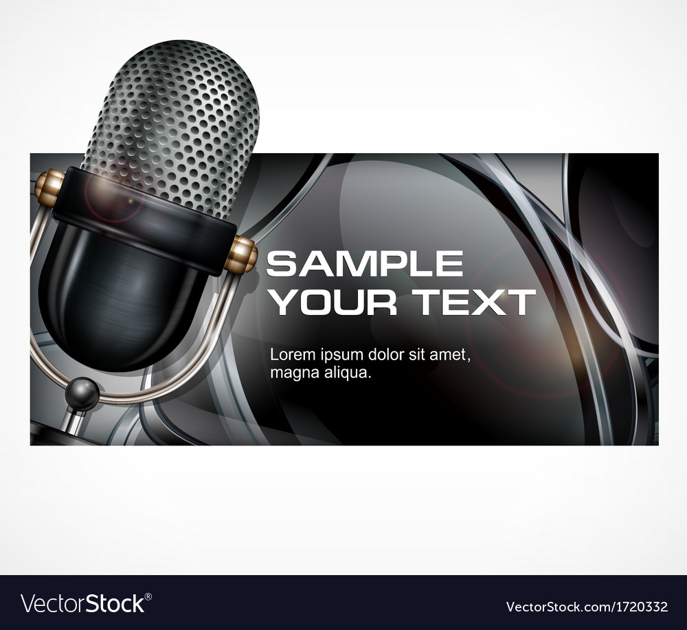 Microphone on black vector