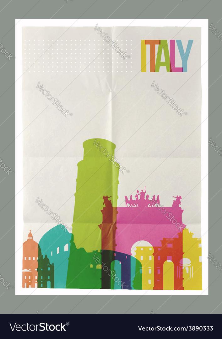 Travel italy landmarks skyline vintage poster vector