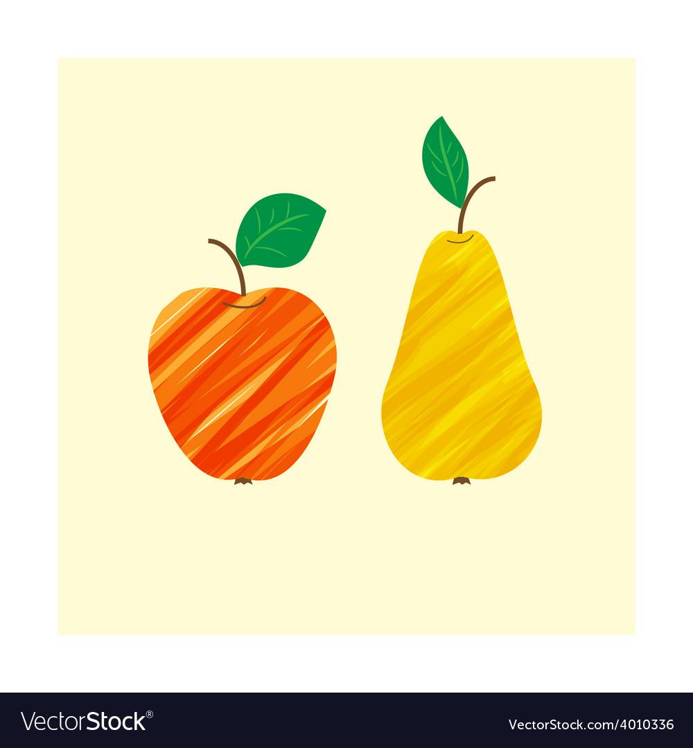 Apple pear fruit food fresh isolated healthy vector