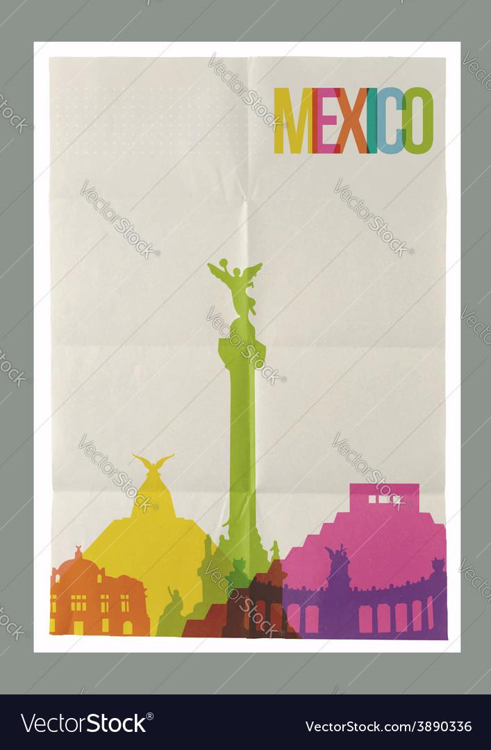 Travel mexico landmarks skyline vintage poster vector