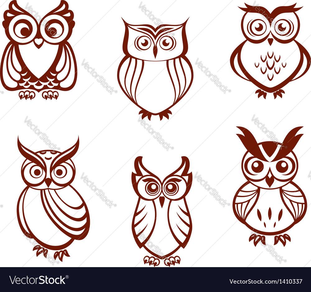 Set of cartoon owls vector