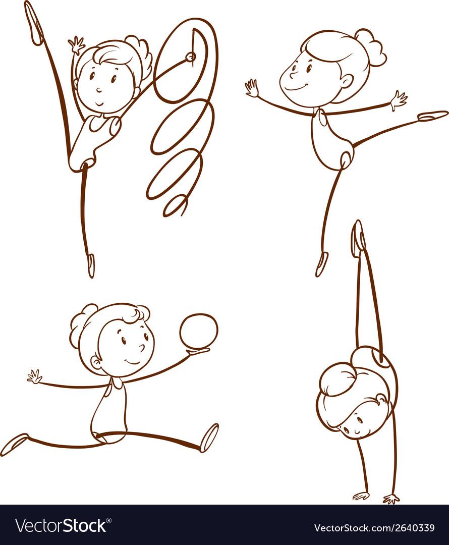 Sketches of a girl doing gymnastics vector
