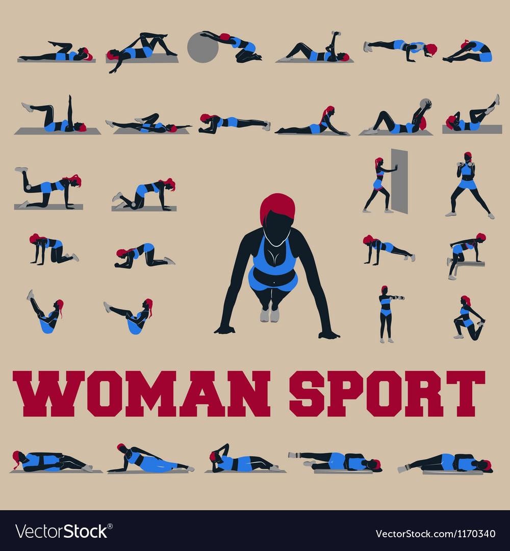30 sporty woman fitnes vector