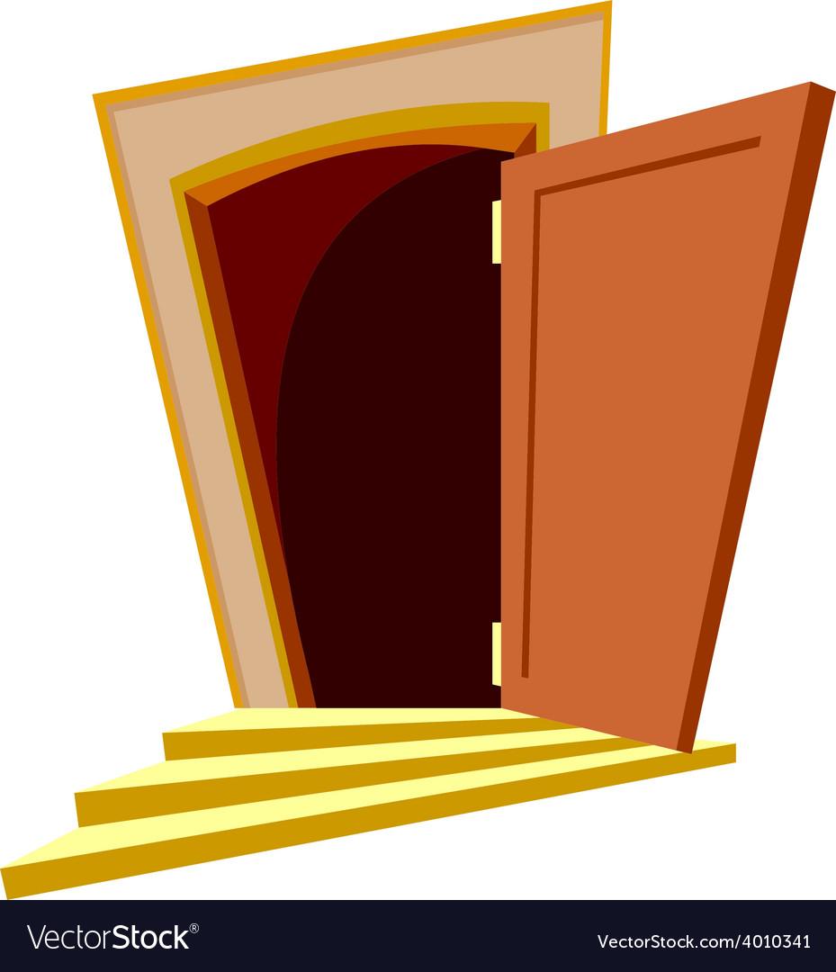 Cartoon curve door open vector