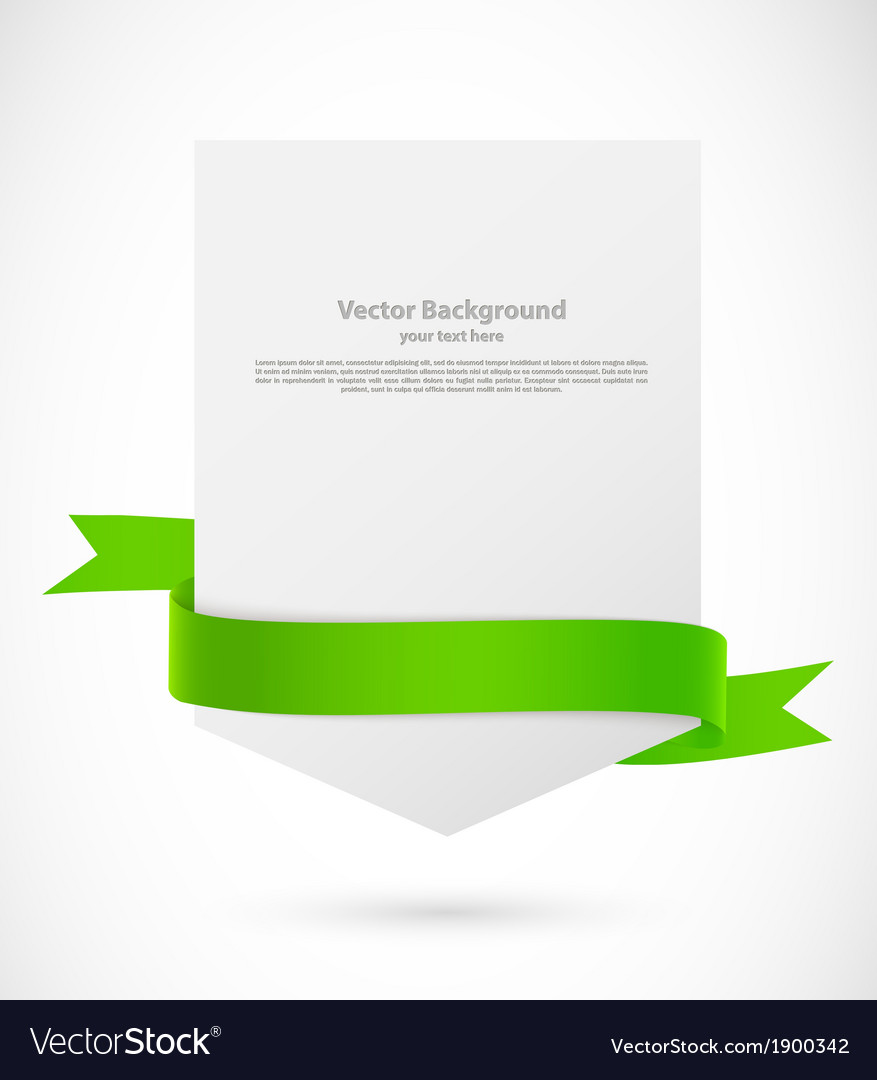Card with green ribbon vector