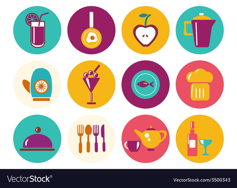 Kitchen ware icons food icons kitchen utensil ico vector