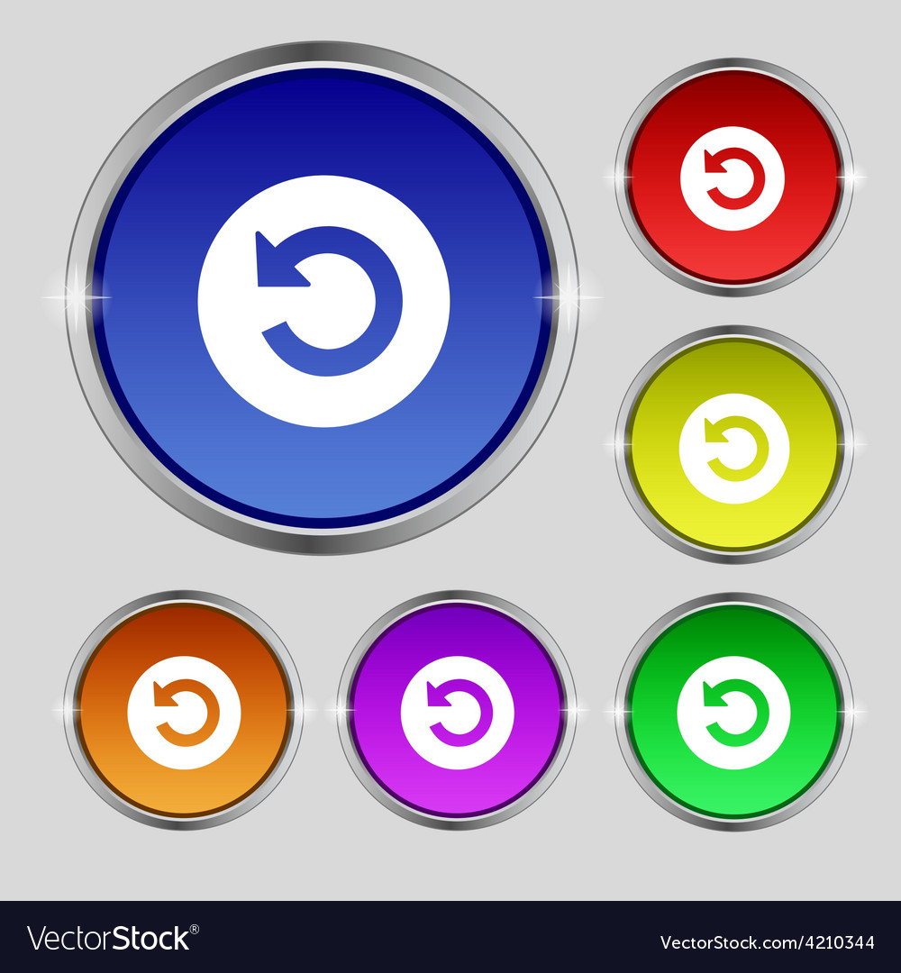 Icon sign round symbol on bright colourful buttons vector