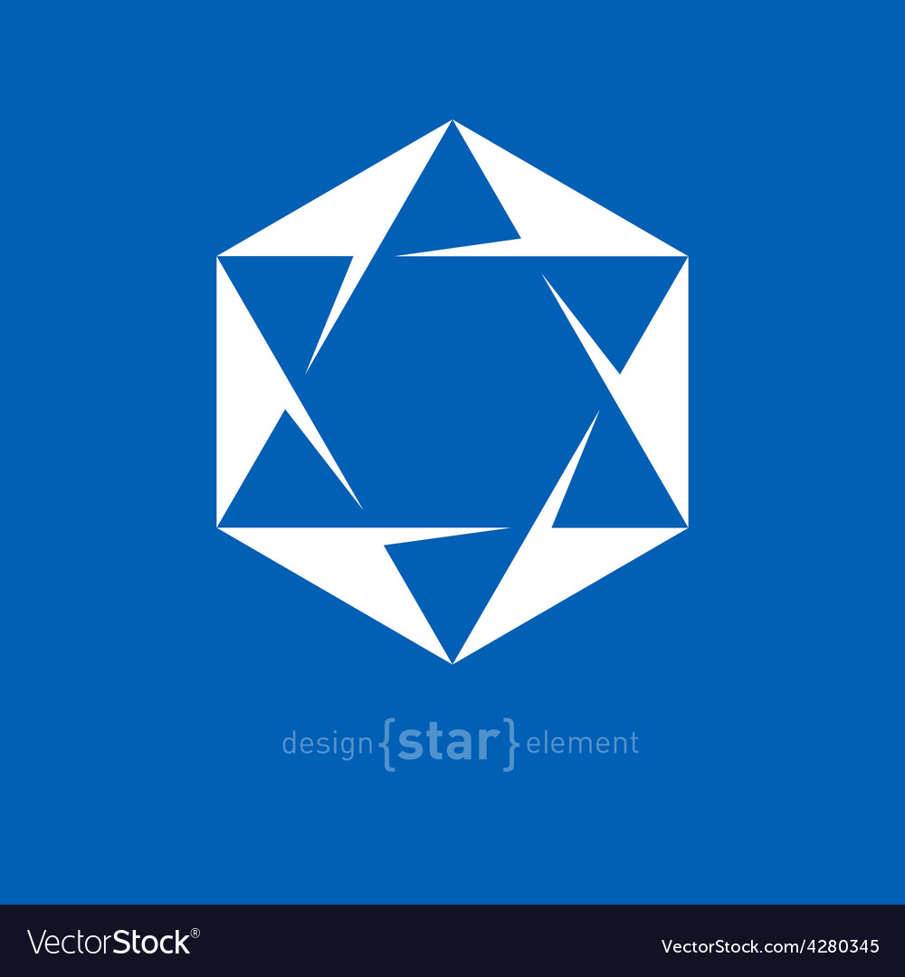 Star of david jewish abstract design element vector