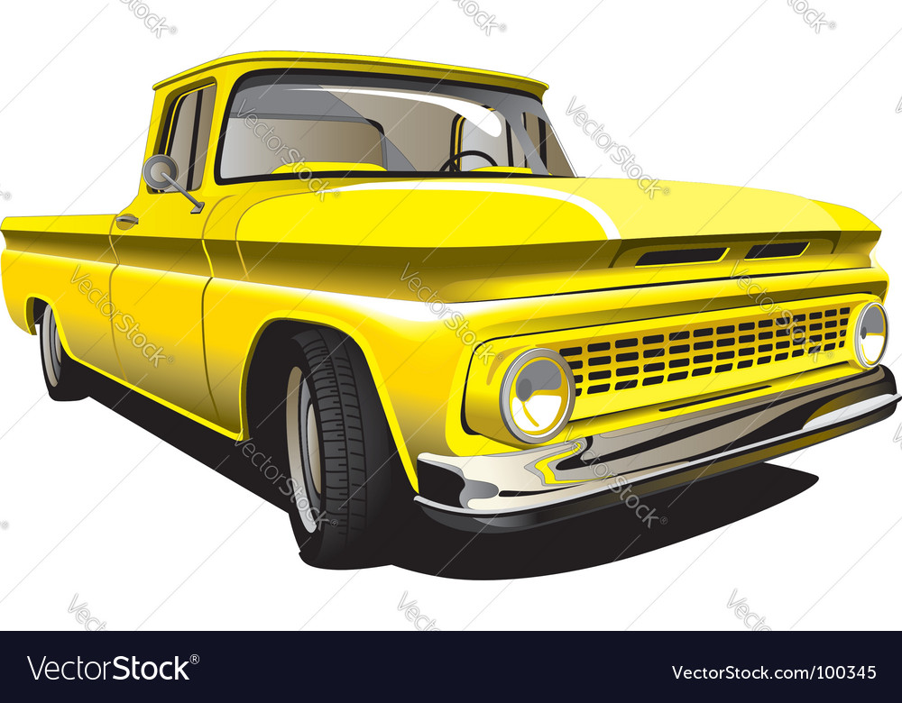 Yellow pickup vector