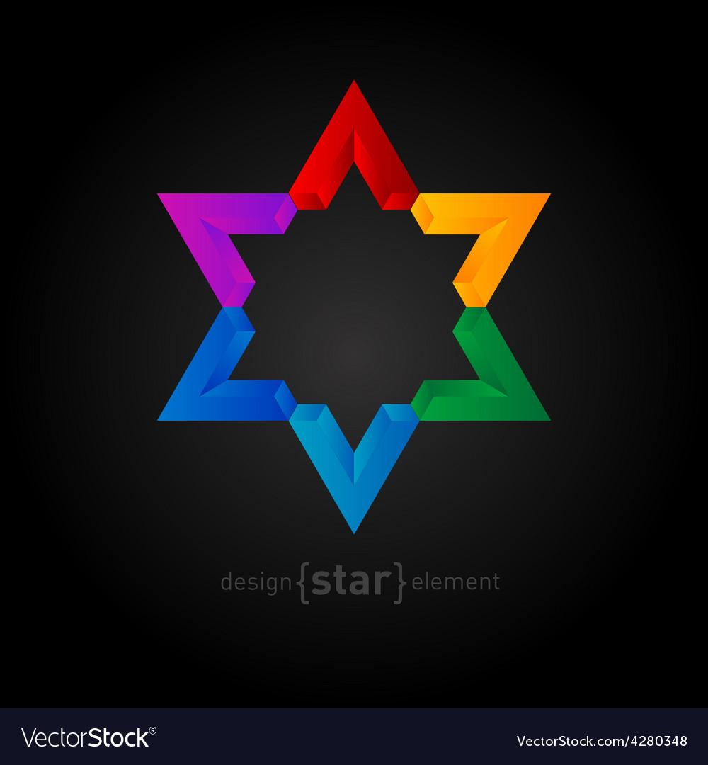 Colorful star abstract design element vector