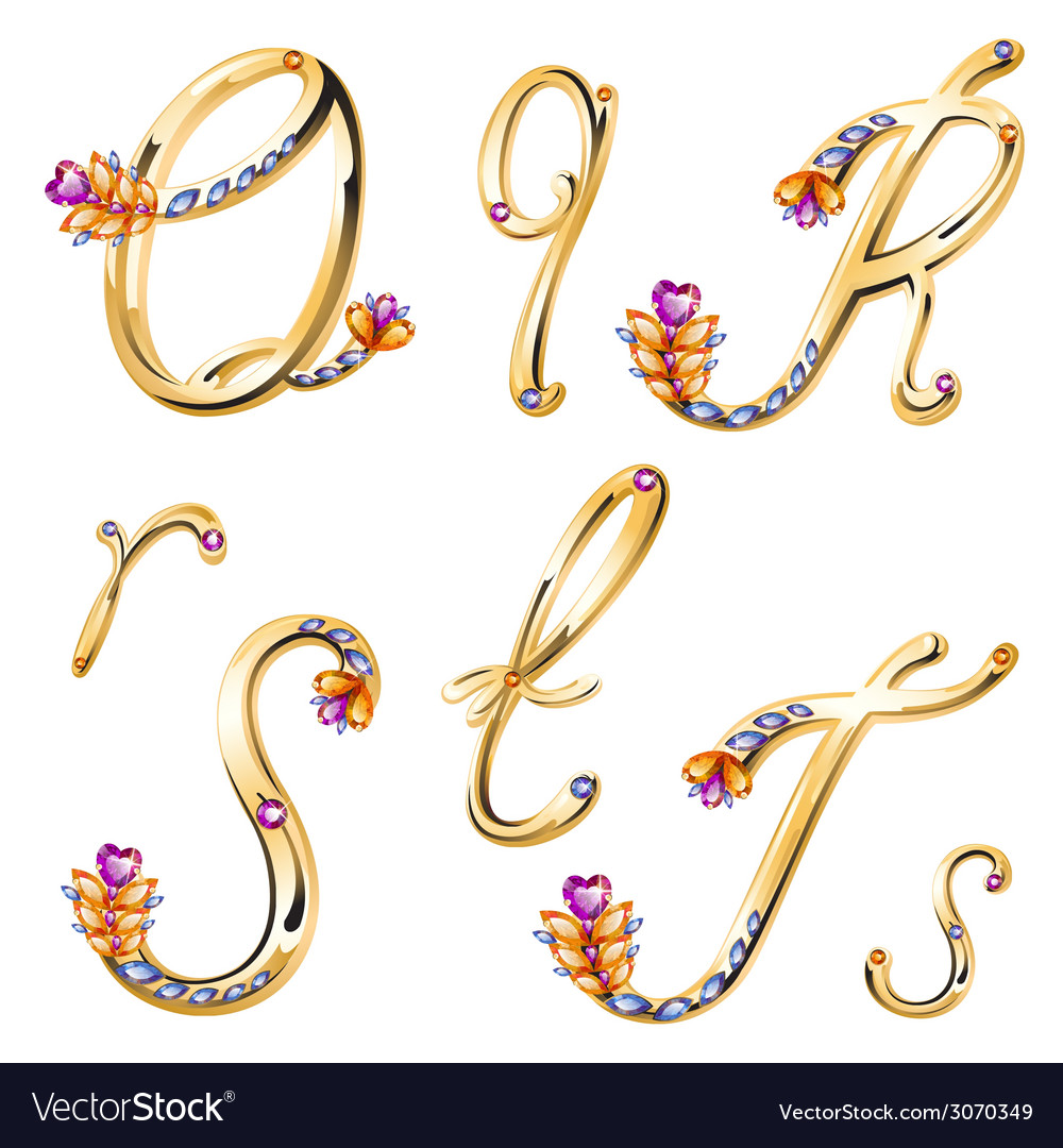 Bronze alphabet with colored gems letters qrst vector