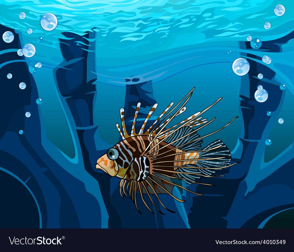 Cartoon fish scorpion in the underwater reefs vector