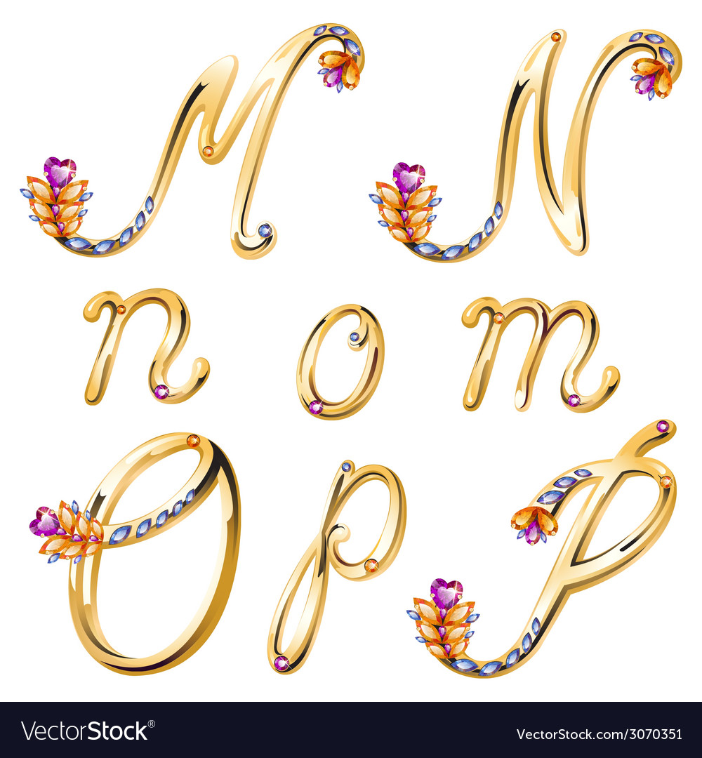 Bronze alphabet with colored gems letters mnop vector