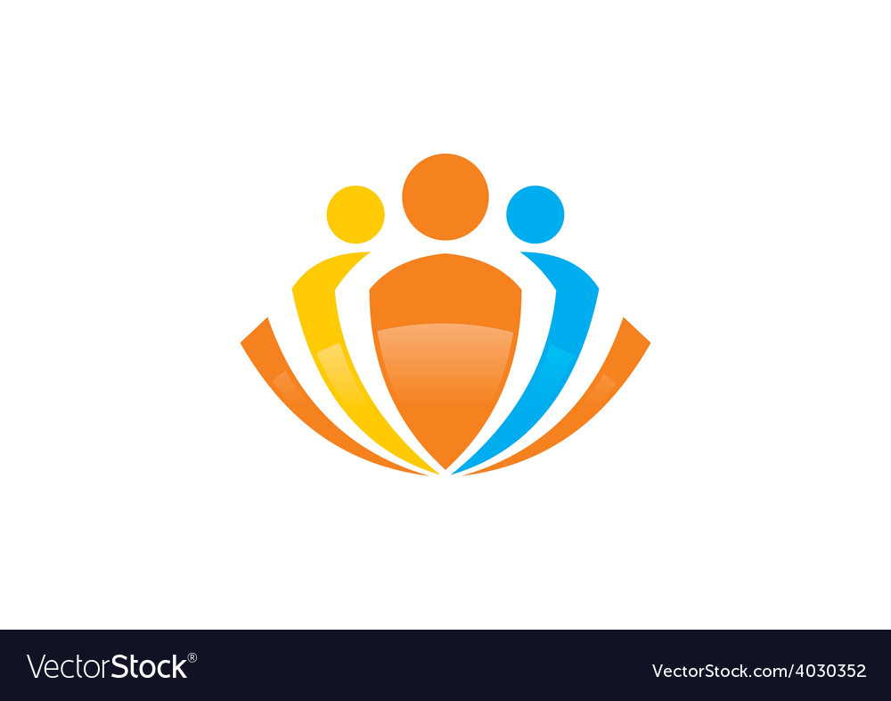 Abstract people group logo vector