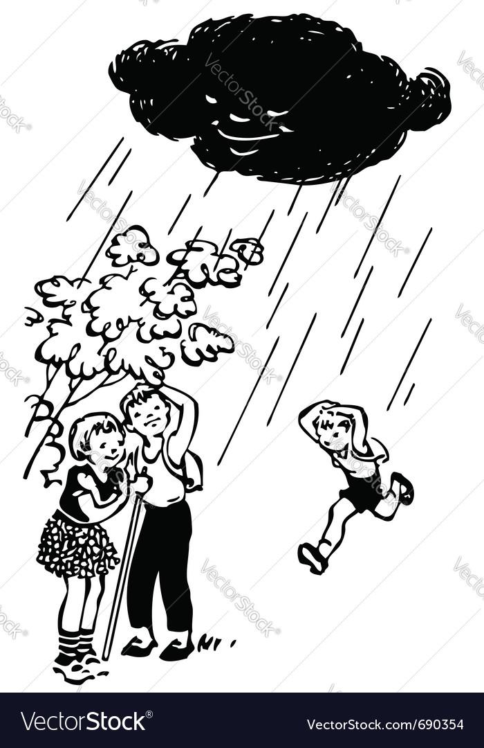 Children hiding from rain under tree vector