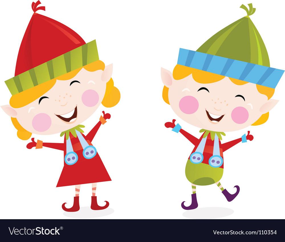 Christmas boy and girl elves vector