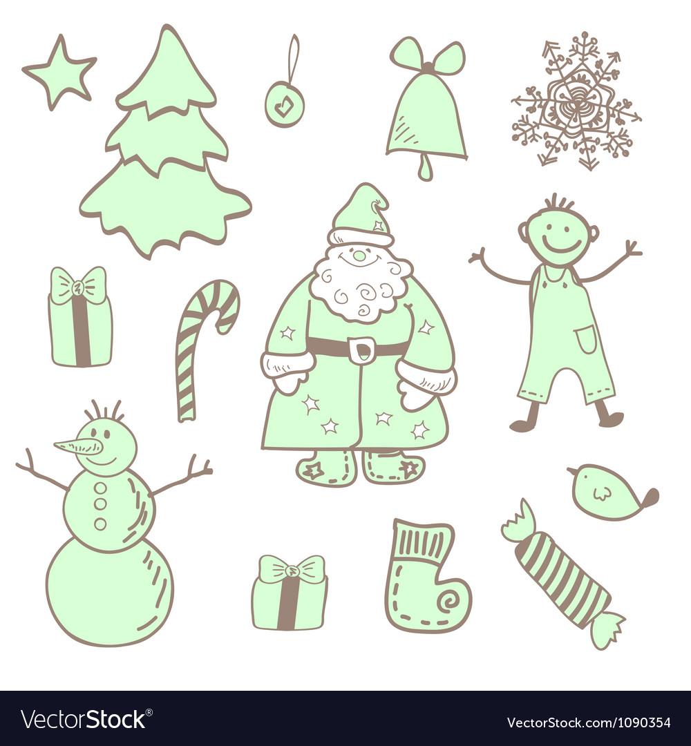 Fun christmas icons with a boy vector
