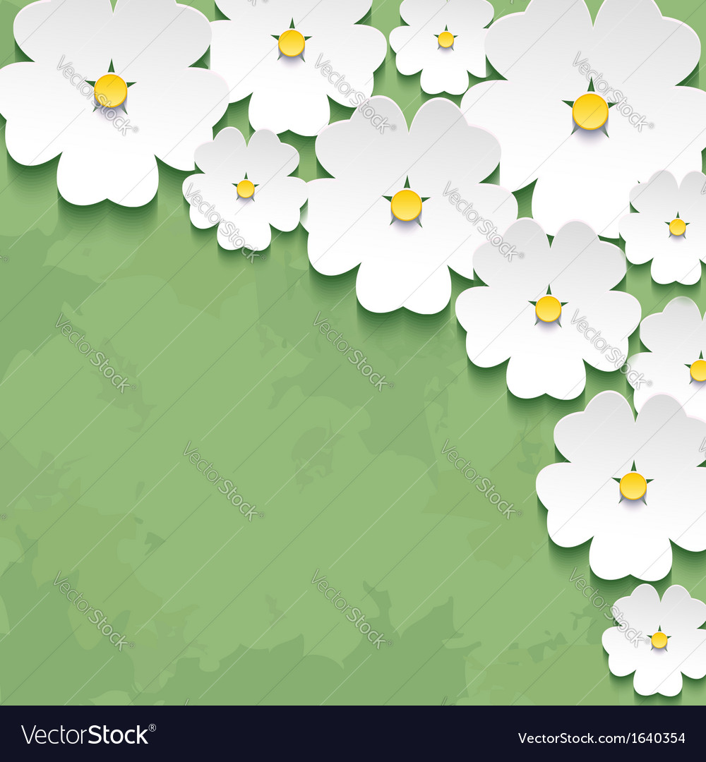 Vintage floral background with 3d flower vector