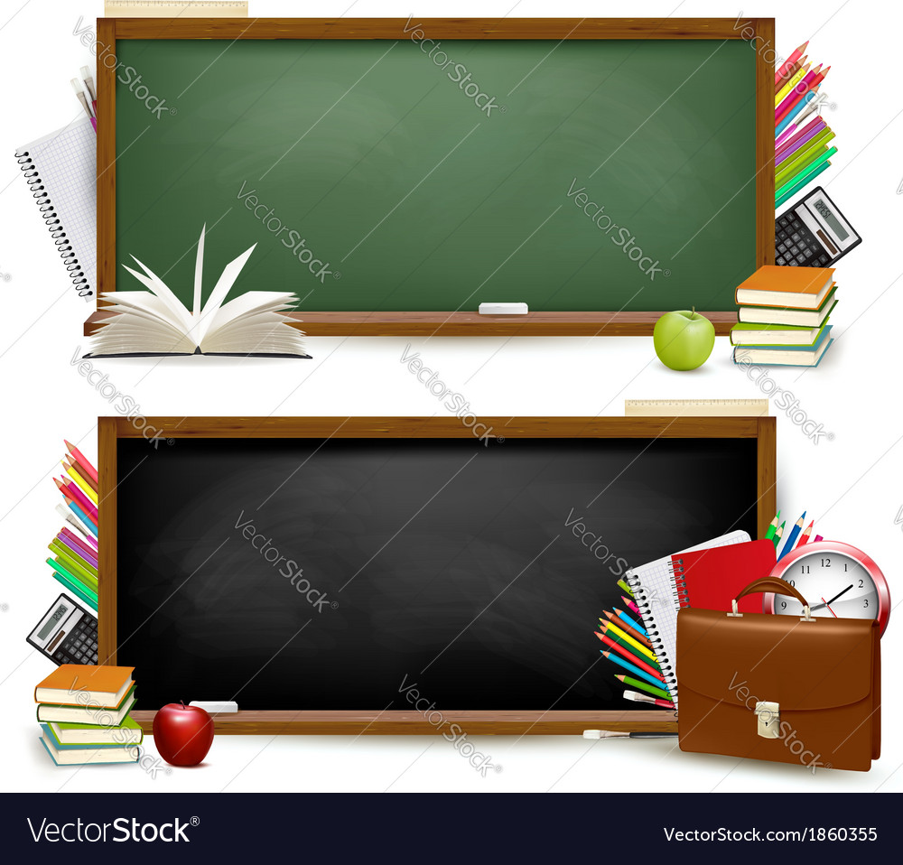 Back to schooltwo banners with school supplies vector